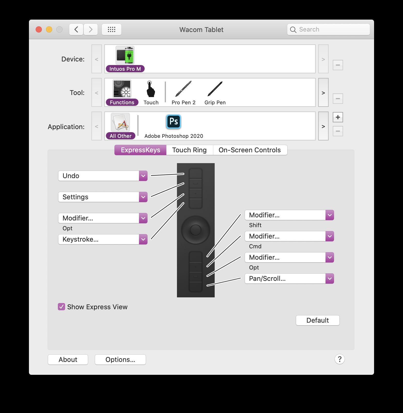 Wacom タブレット プロパティ画面