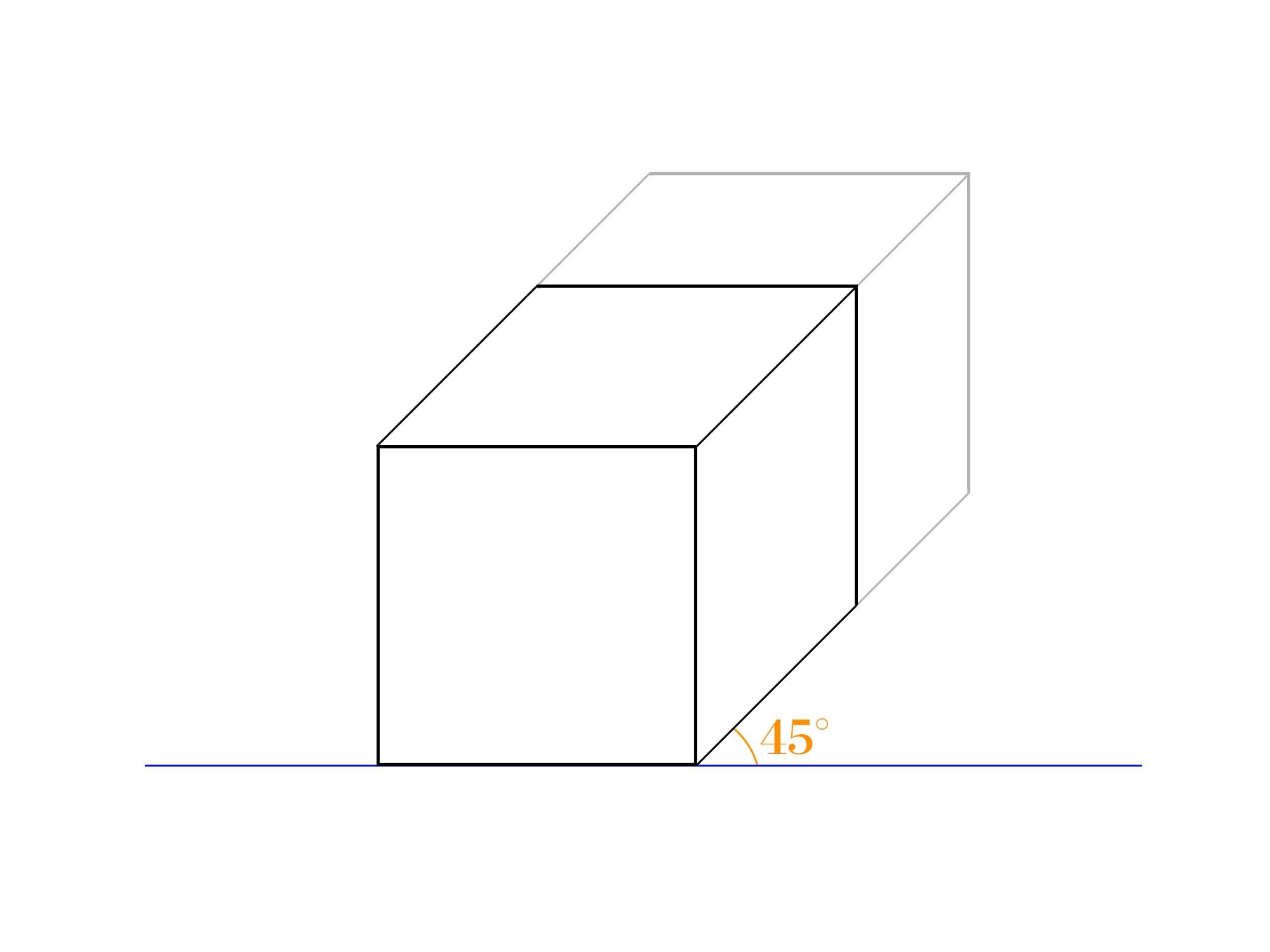 傾斜立面図ゆがみ45°