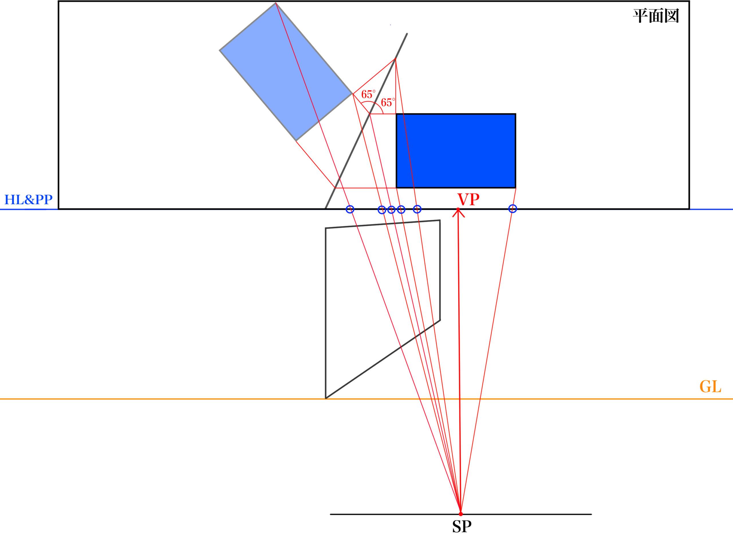 平面図から反射を描くSTEP⑥