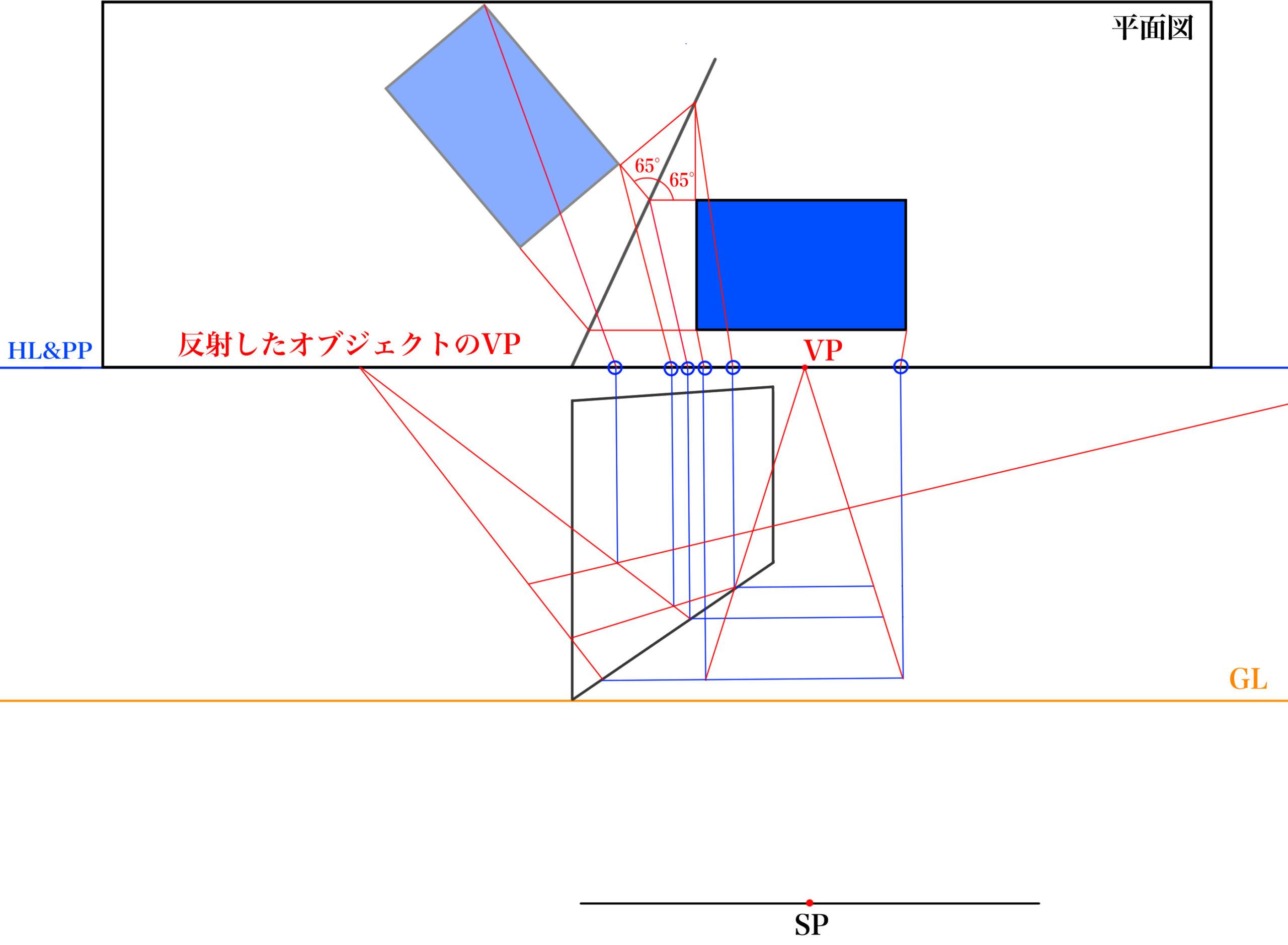 平面図から反射を描くSTEP⑥_2