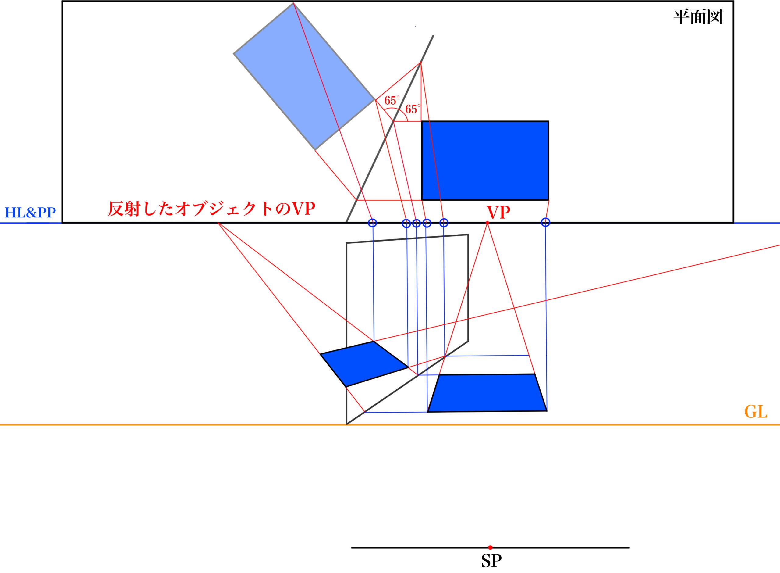 平面図から反射を描くSTEP⑥_3
