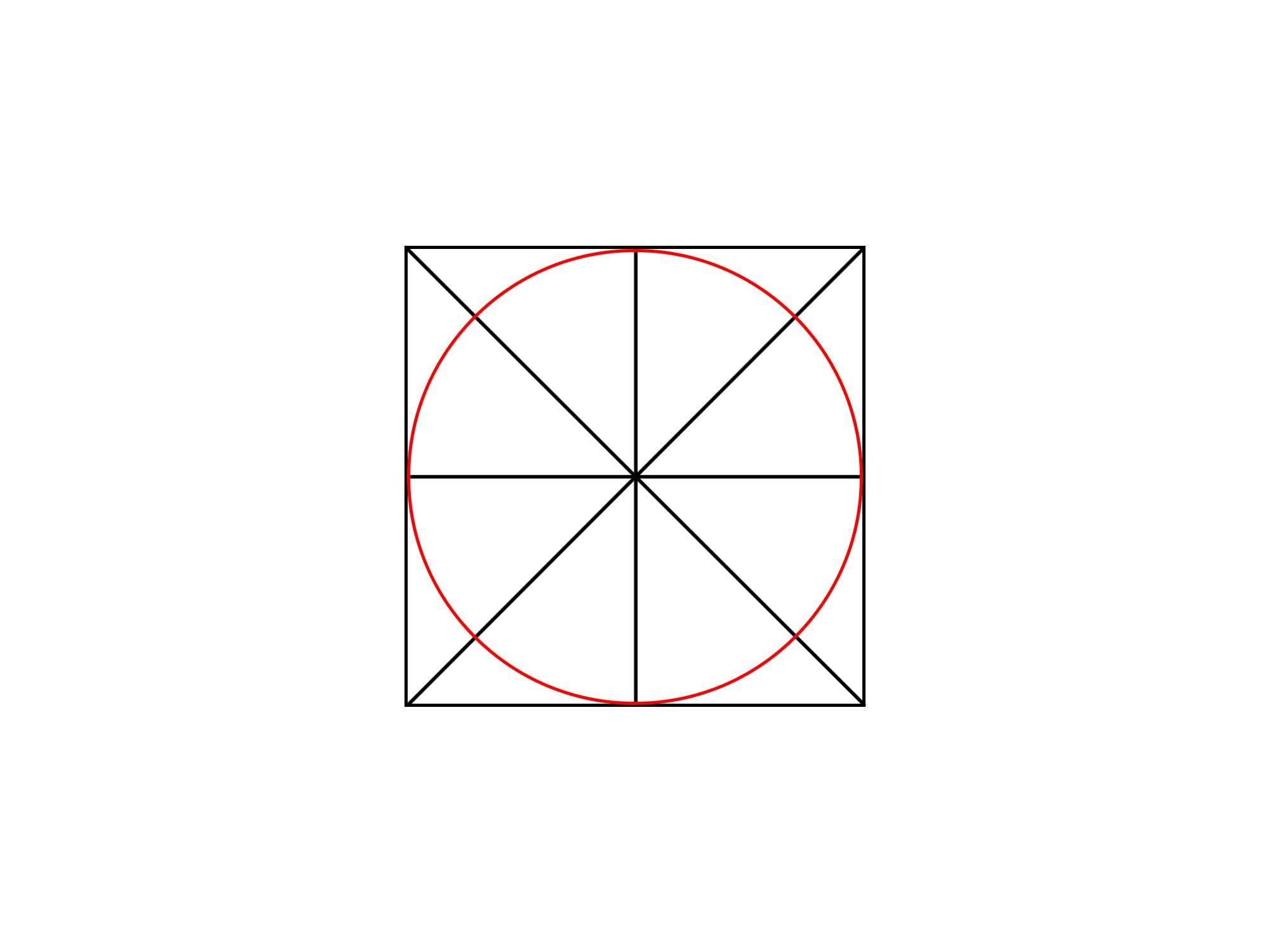 正方形に円を描く③