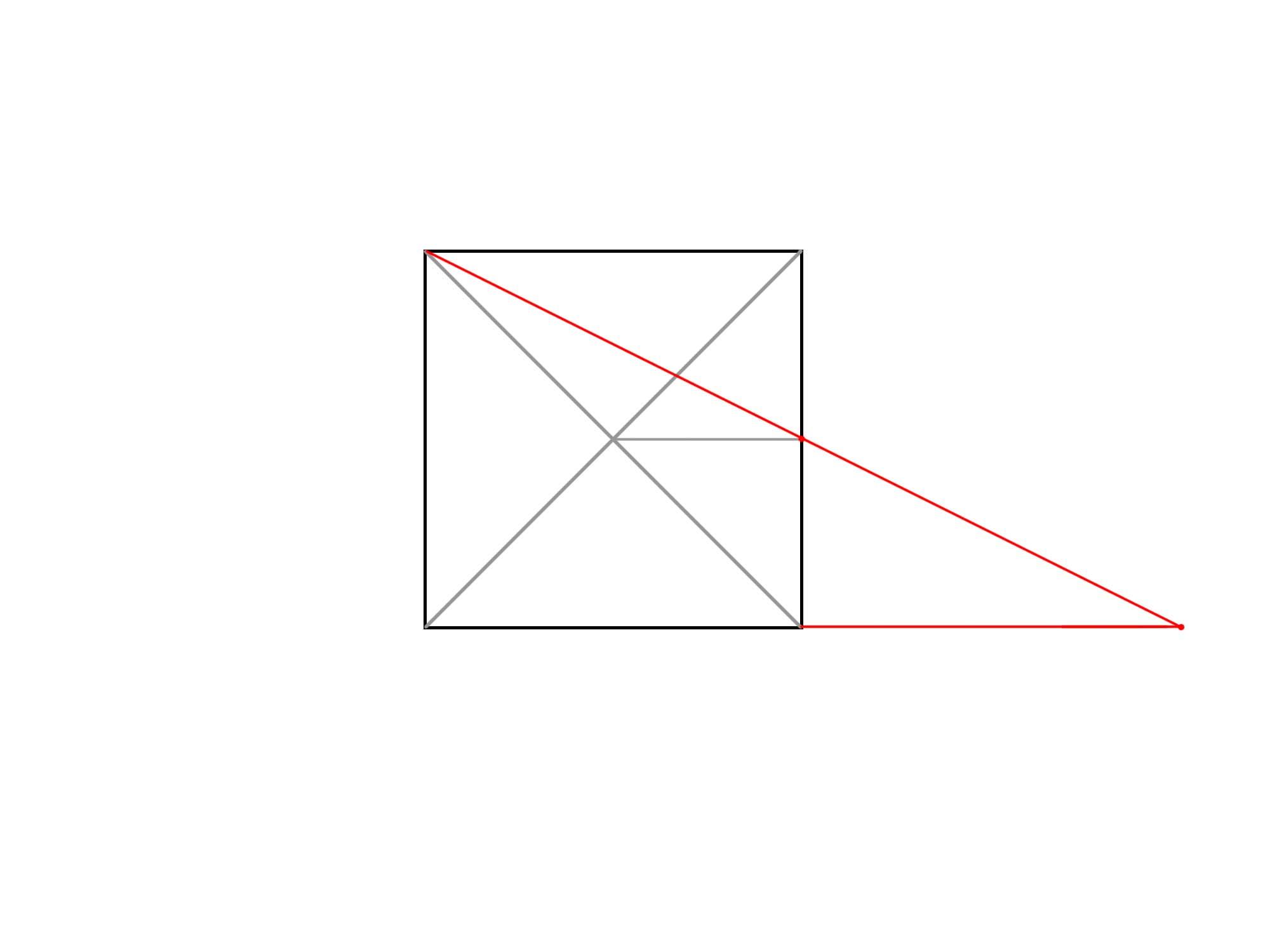 正方形を使って円を描く③