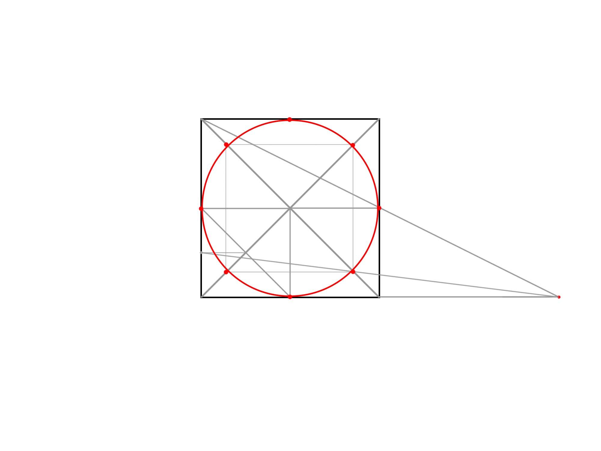 正方形を使って円を描く⑦