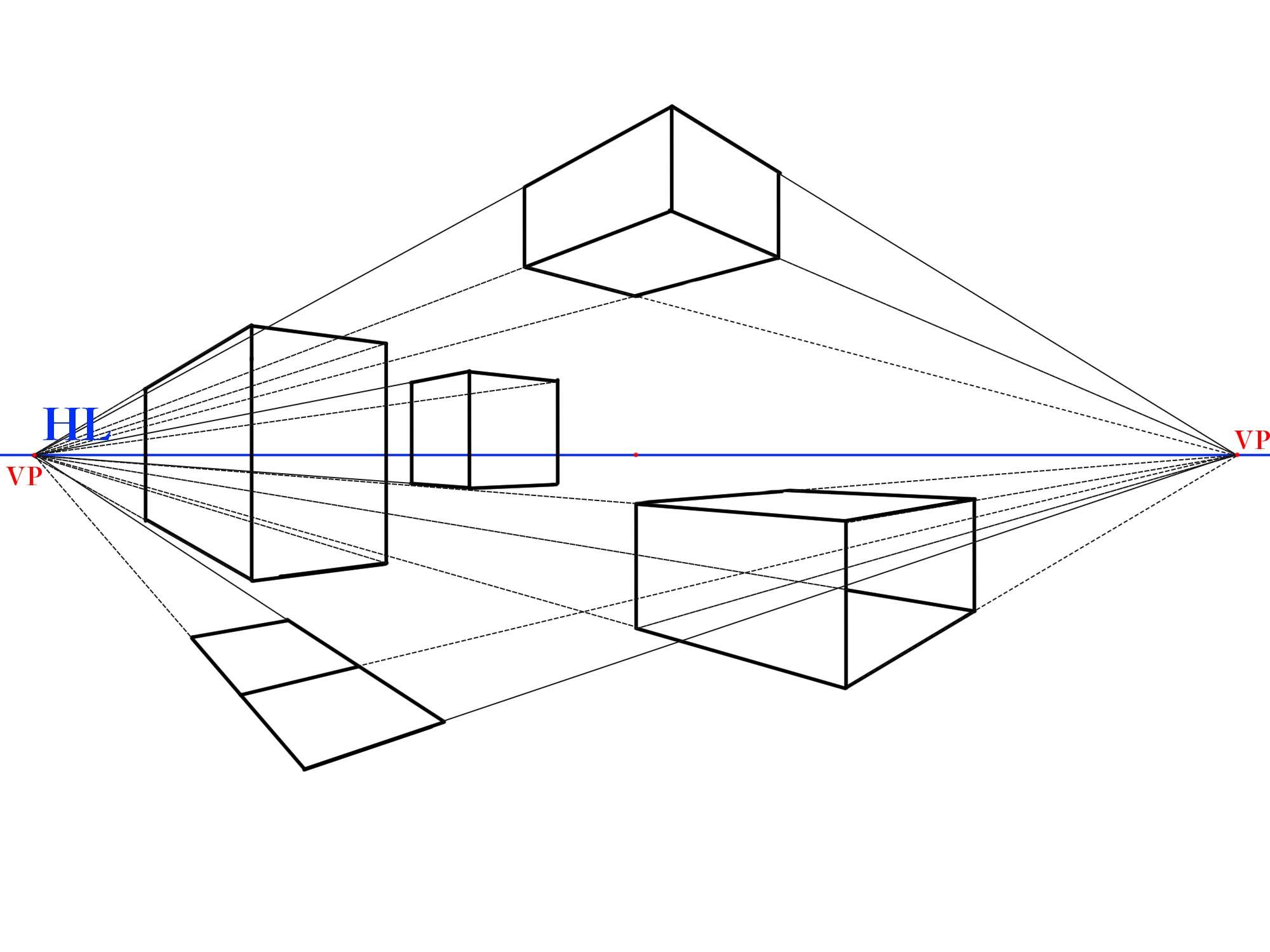 2点平行透視図