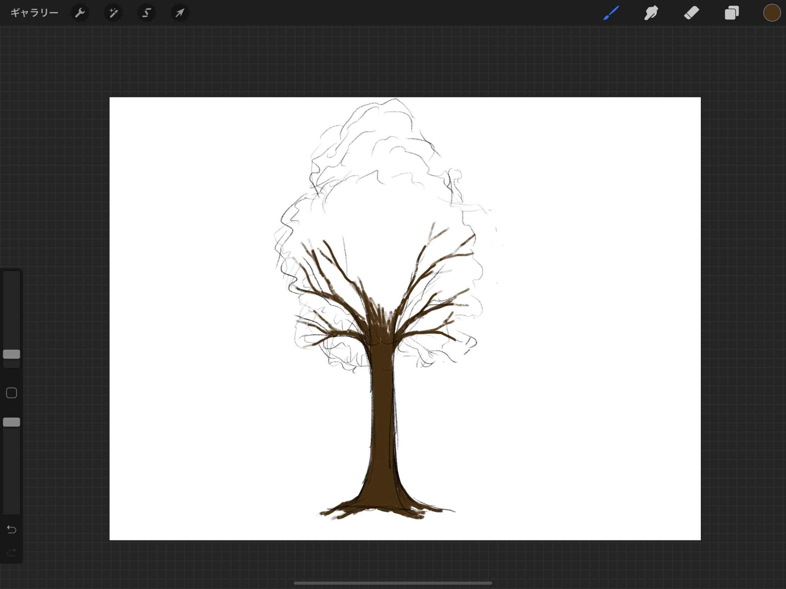 ②木の幹のシルエット