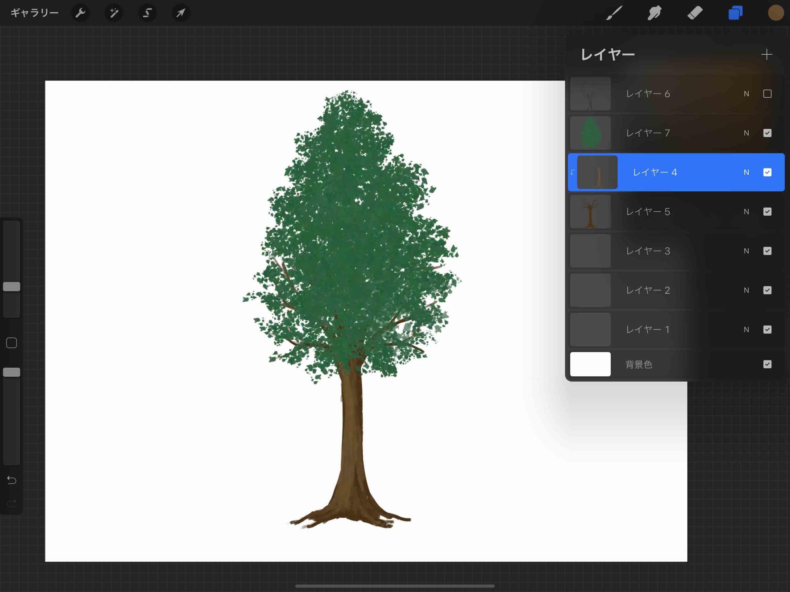 ④木の幹のハイライト描き込み
