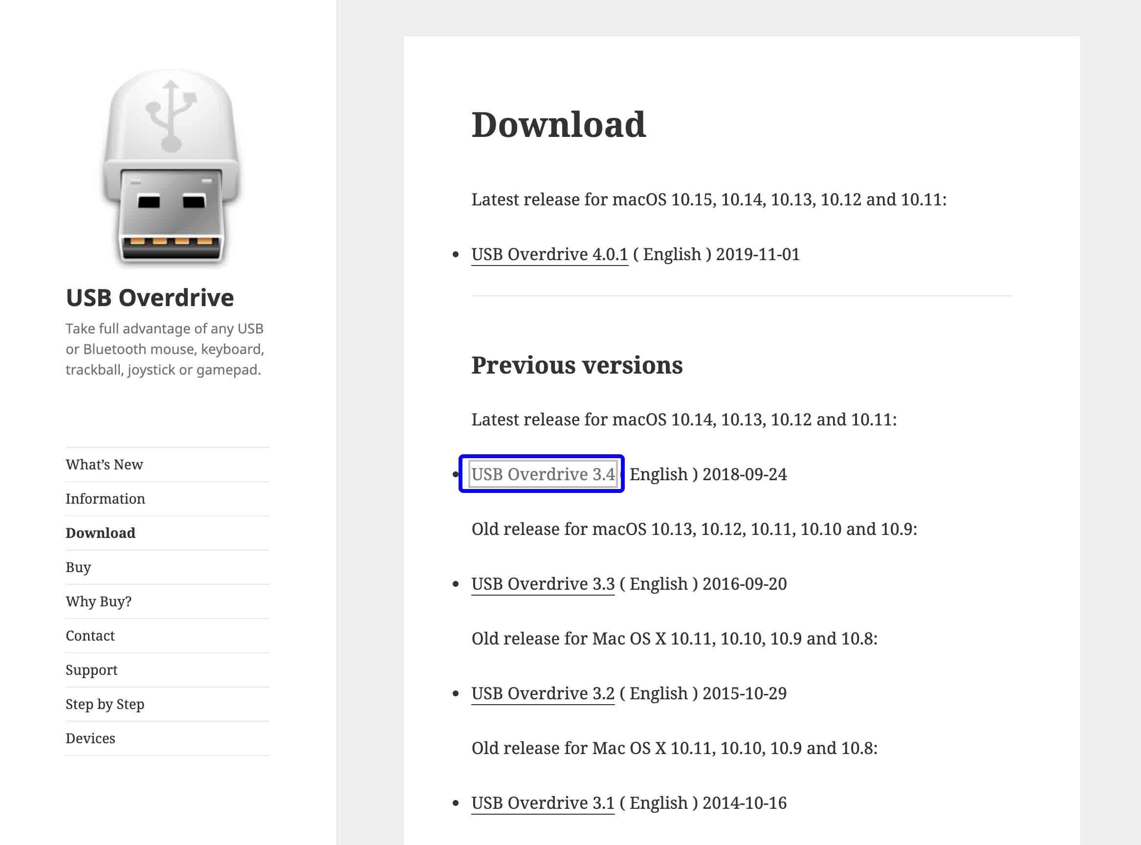 USBOverdriveの3.4を選択