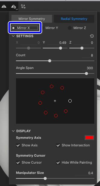 X軸でRadialSymmetry