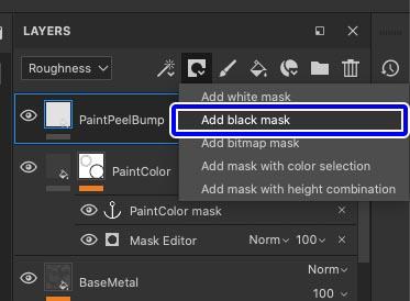 Peelレイヤーに黒マスクを追加