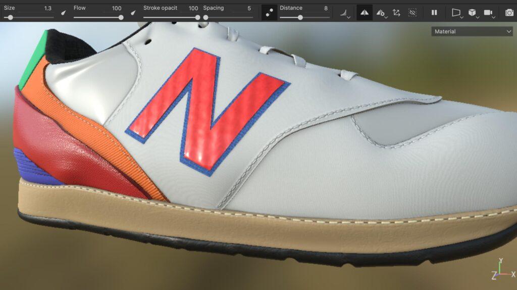 StichesToolで靴に縫い目を作成