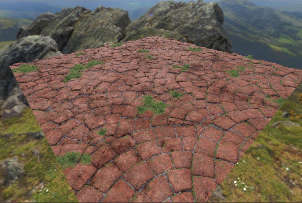 苔の生えた石畳の完成