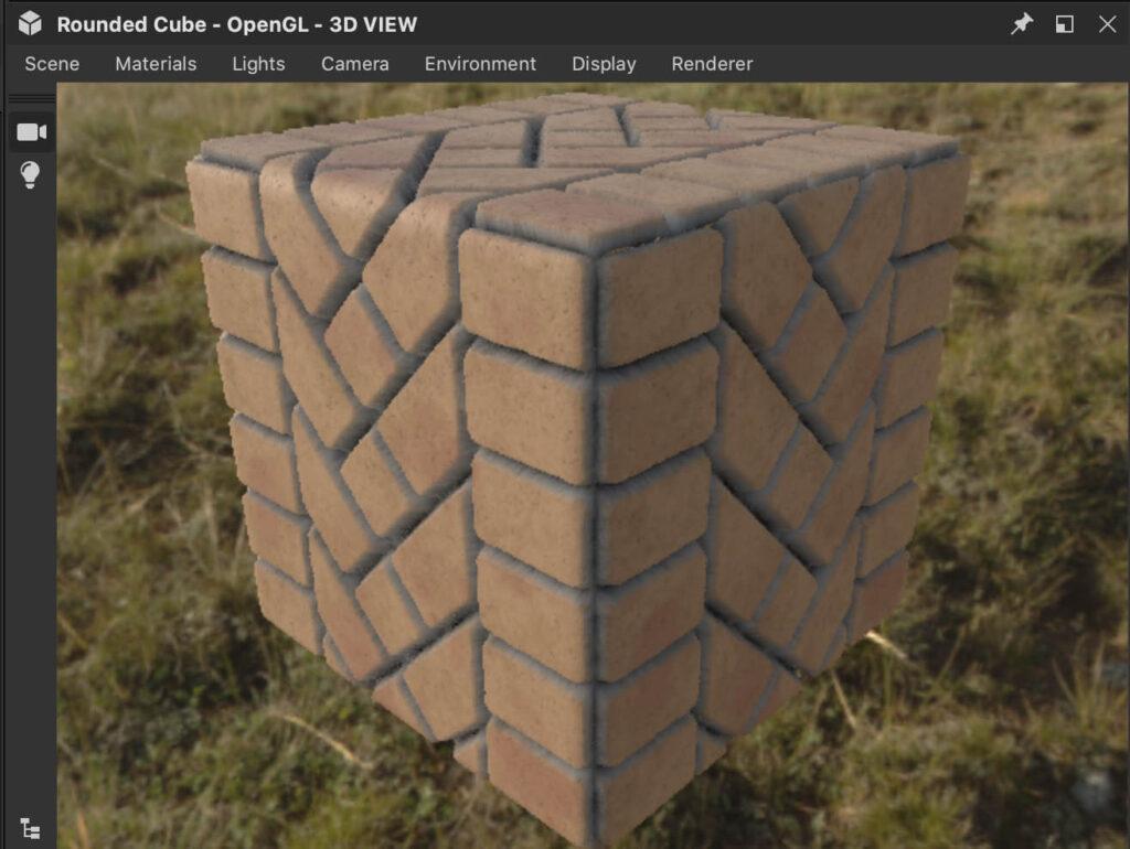 石畳のマテリアルを設定