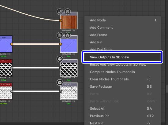 outputを3Dビューで表示
