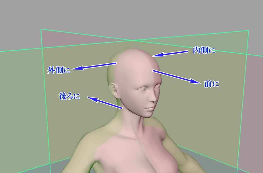 頭部の方向